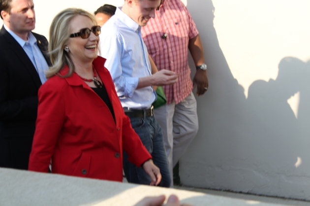 Secretary of State Hillary Clinton makes her way into Wrigley Field on Saturday night. (Photo by Sean McDonough)
